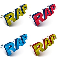 Set of dimensional shattered green rap words vector