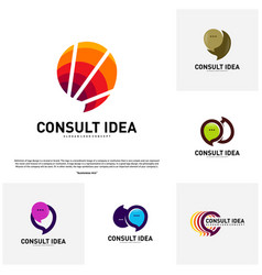 set of modern business consulting agency logo vector image