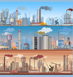 Set of realistic detailed industrial web banner vector