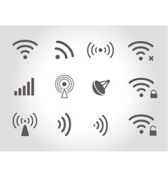 Set of twelve black wireless and wifi icons vector image