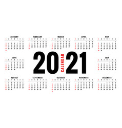 Simple 2021 new year calendar design template vector