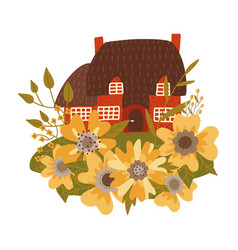 small old house with thatched roamong huge vector image