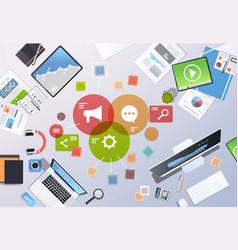 social media digital marketing concept top angle vector image