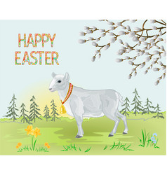 Spring landscape forest and easter lamb vector