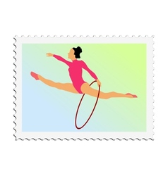 Stamp with image of gymnastics vector