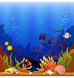 Sunken ship underwater background vector