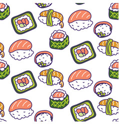 sushi rolls set seamless pattern vector image