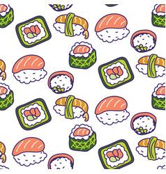Sushi rolls set seamless pattern vector