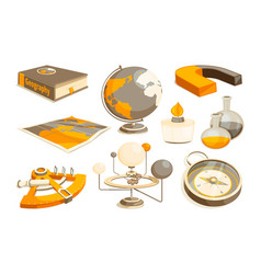 Symbols of science and geography tools for vector