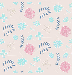 tender pink floral pattern with flowers and leaves vector image