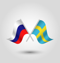 Two crossed russian and swedish flags vector
