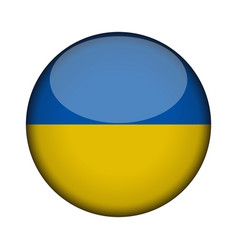 ukraine flag in glossy round button of icon vector image