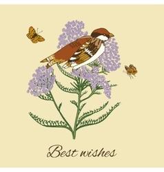 Vintage flower postcard vector