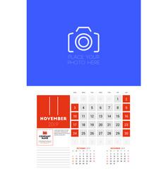 wall calendar planner template for november 2019 vector image