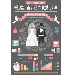 Wedding infographics setRetro wedding clothing vector