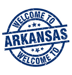 welcome to arkansas blue stamp vector image