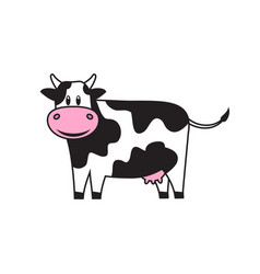 White cute cow with black spots vector