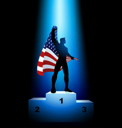 Winner holding flag usa vector