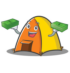 with money tent character cartoon style vector image