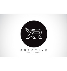 xr modern leter logo design with black and white vector image