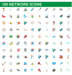 100 network icons set cartoon style vector image vector image