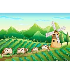 A farm with cows vector image vector image