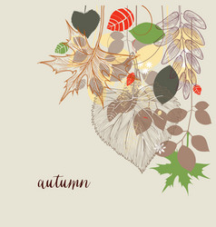 fall corner decoration autumn leaf design vector image