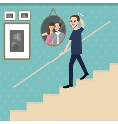 man walking on stairs feel sad lonely looking at vector image