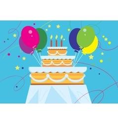 Big birthday cake with balloons vector image