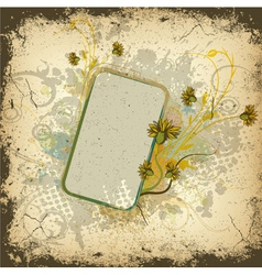 colorful grunge floral frame vector image vector image