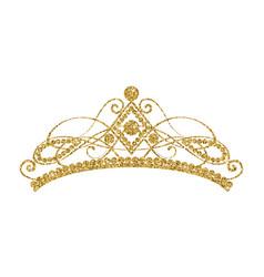 glittering diadem golden tiara isolated on white vector image