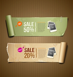 Vintage paper roll ripped for business design vector image