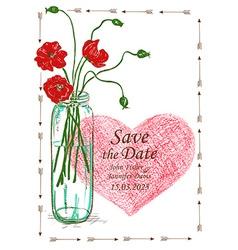 Wedding invitation with mason jar and poppy vector image