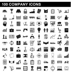 100 company icons set simple style vector image vector image