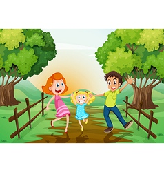 A happy family at the woods vector image vector image