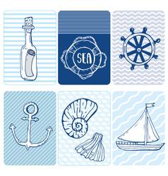 marine seamless card collection of seashells vector image
