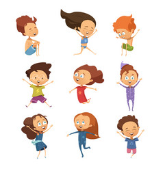 set of cute cartoon jumping kids vector image vector image
