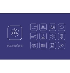 Set of United States simple icons vector image vector image