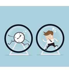 businessman and time running in hamster wheel vector image