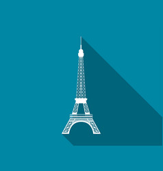 eiffel tower flat icon with long shadow vector image vector image