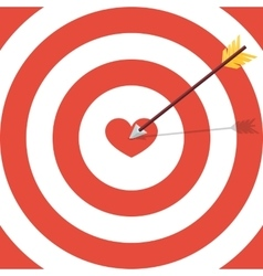 Flat target with heart Card for Valentine day vector image