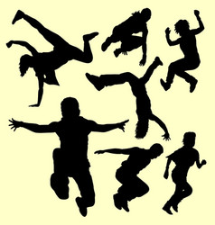 parkour training sport silhouette vector image