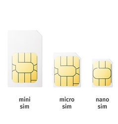 Set of SIM cards of different sizesmini micro nano vector image