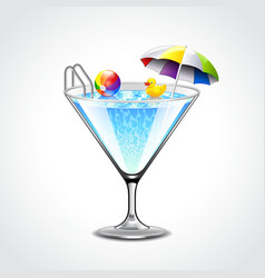 Swimming pool in martini glass vacation concept vector image vector image