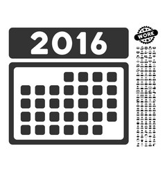2016 month calendar icon with people bonus vector