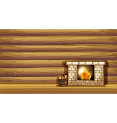 A fireplace near the wooden wall vector image