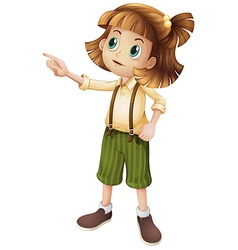 A young girl pointing vector image