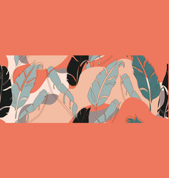 abstract banana leaves in one line art and paper vector image