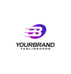 Abstract letter b logo with fast speed lines fast vector
