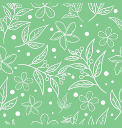 Abstract seamless pattern leaves and flower vector